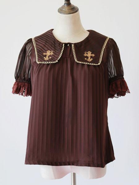 Milanoo Sweet Lolita Blouse Infanta Dark Brown Cross Embroidered Chiffon Lolita Top