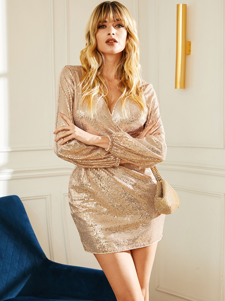 YOINS Gold Wrap Design V-neck Long Sleeves Dress