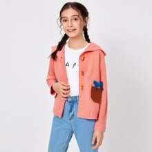 Girls Pocket Patched Bow Front Hooded Cardigan