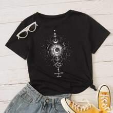 T-Shirt mit Grafik Muster und kurzen Ärmeln