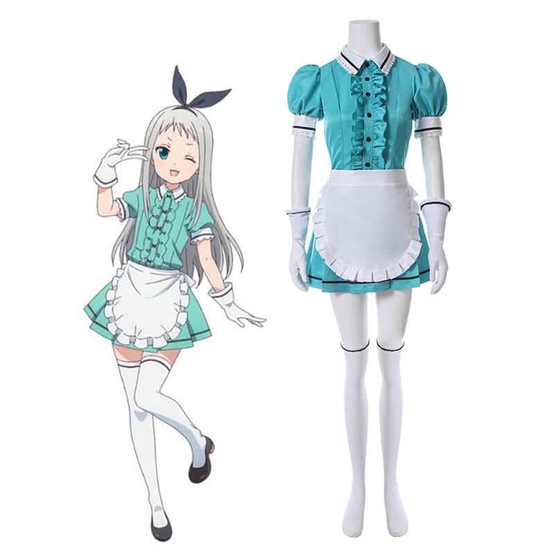 Blend S Hideri Kanzaki Anime Green Cosplay Costumes