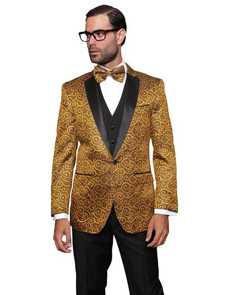 Bellagio Gold 3PC Suit Tuxedo a Vest And Matching Bow Tie For Men
