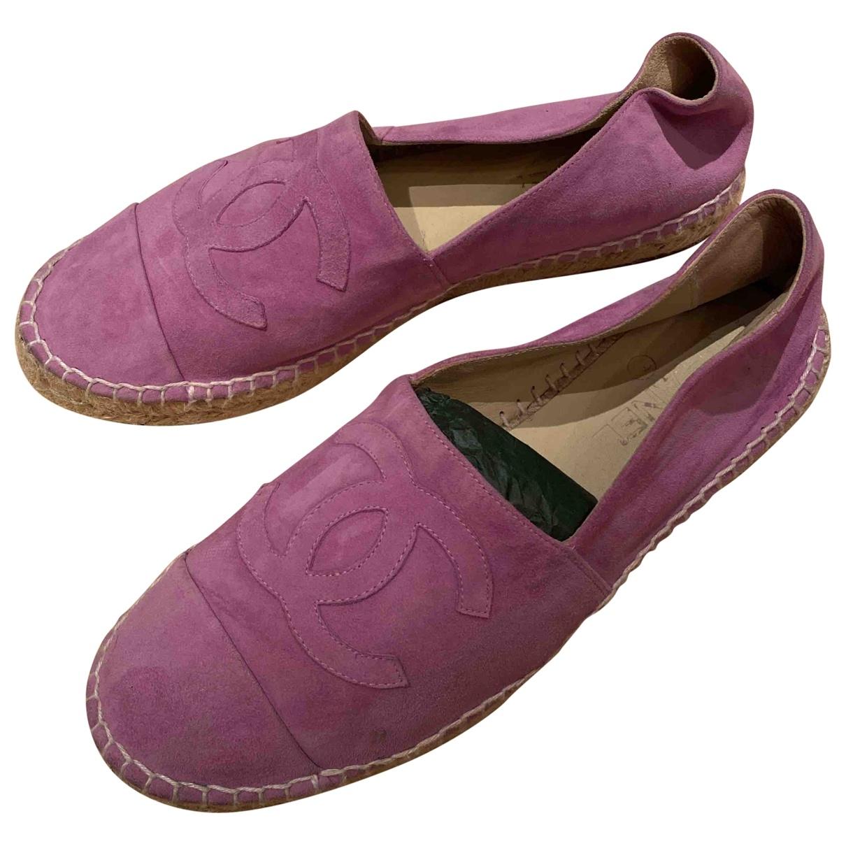 Chanel - Espadrilles   pour femme en suede - rose