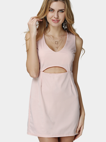 Yoins Pink Plunge Sleeveless Cut Out Mini Dress