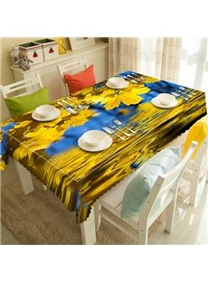 Beautiful Polyester Maple and Water Pattern Tablecloth
