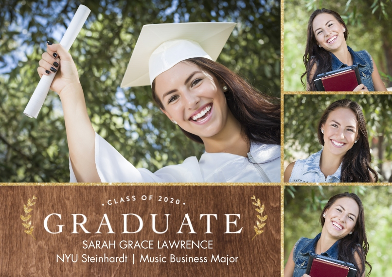 2020 Graduation Announcements Flat Matte Photo Paper Cards with Envelopes, 5x7, Card & Stationery -2020 Graduate Gold Laurels by Tumbalina