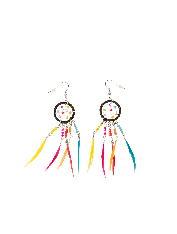 Kostuemzubehor Ohrringe Traumfaenger mit Federn bunt Farbe: multicolor bzw. bunt