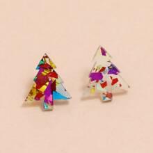 Pendientes de tachuela con diseño de arbol de Navidad