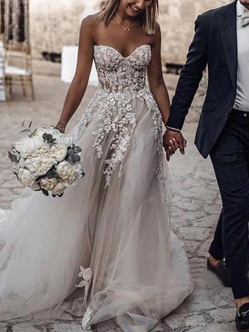 Ericdress A-Line Sweetheart Appliques Outdoor Wedding Dress