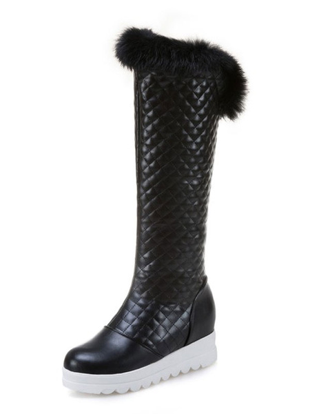 Milanoo Knee High Boots Womens PU and Faux Fur Round Toe Thick-soled Winter Boots