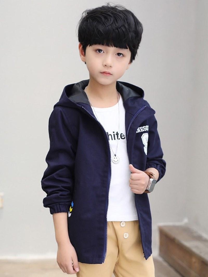 Ericdress Plain Lantern Sleeve Hooded Zipper Boy's Casual Jackets
