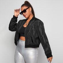 Plus Solid Zip Up Crop Bomber Jacket