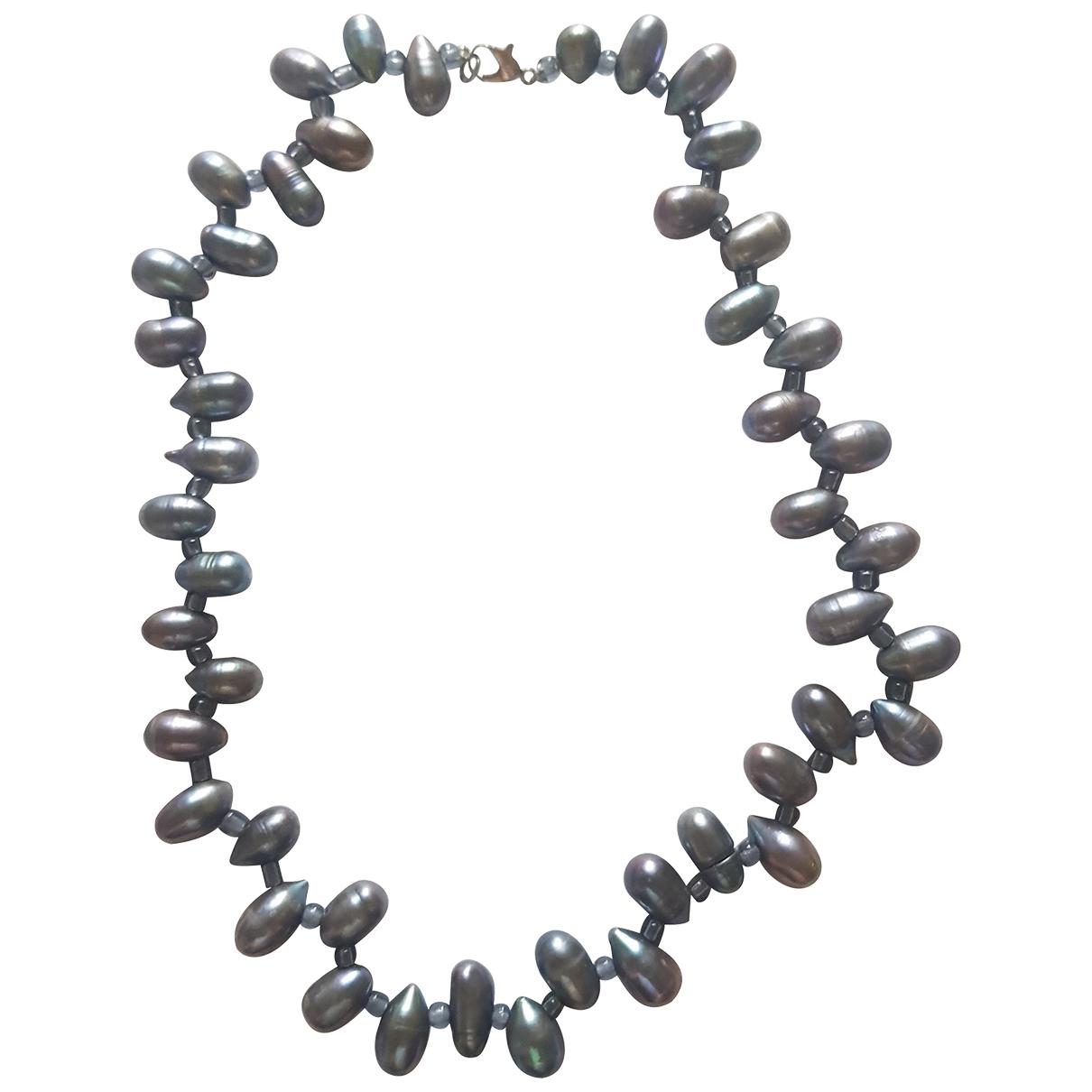 - Collier   pour femme en perles - gris