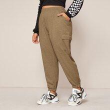 Plus Side Flap Pocket Solid Sweatpants