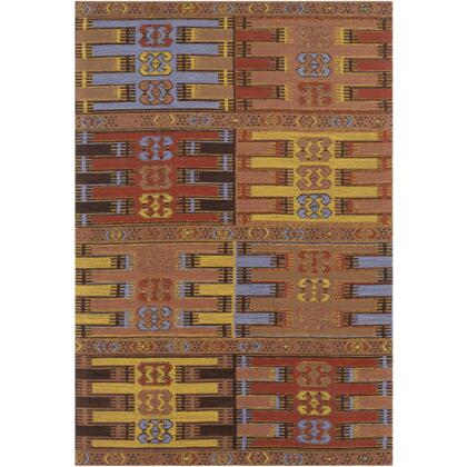 SAJ1076-46 4' x 6' Rug  in Camel and Burnt Orange and Denim and Black and Bright Yellow and