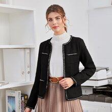 Tweed Jacke mit Kontrast Bindung und offener Vorderseite