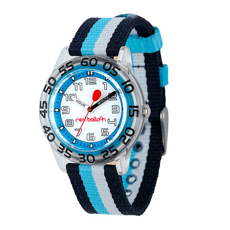 Red Balloon Boys Black and Blue Striped Strap Watch, One Size , No Color Family