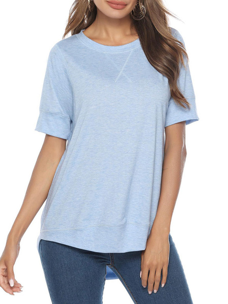 Milanoo Camiseta de mujer Camisetas de manga corta Camiseta de cuello joya de mezcla de algodon azul marino oscuro para mujer