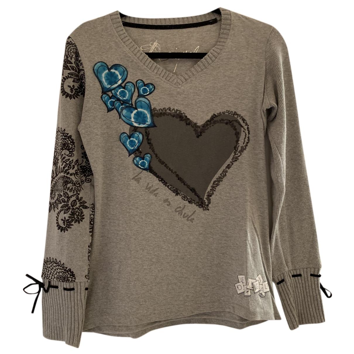 Desigual - Top   pour femme en coton - gris