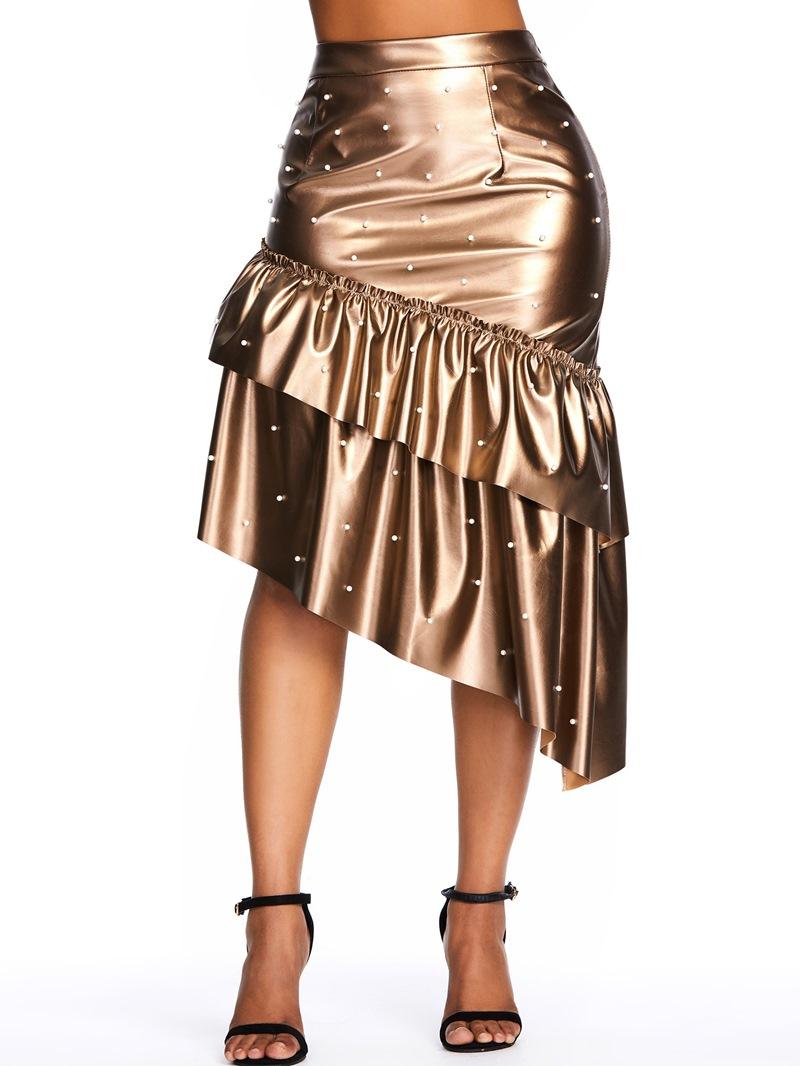 Ericdress Falbala Mermaid Mid-Calf Casual PU Bead Skirt