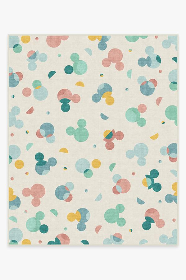 Washable Rug Cover & Pad | Mickey Polka Dots Multicolor Rug | Stain-Resistant | Ruggable | 8'x10'
