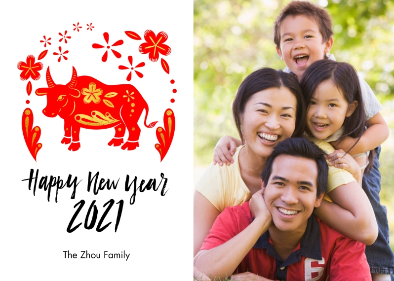 Chinese New Year 5x7 Folded Cards, Standard Cardstock 85lb, Card & Stationery -Year Of The Ox
