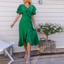 Kleid mit Raffungsaum, Wickel Design und seitlichem Band