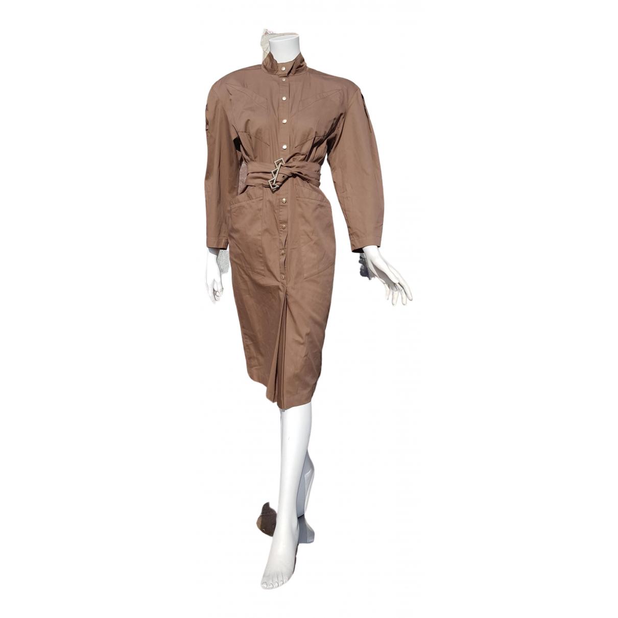 Thierry Mugler \N Kleid in  Braun Baumwolle