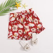 Shorts mit elastischer Taille, Rueschenbesatz und ueberallem Blumen Muster