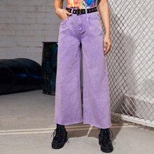 Jeans mit ungesaeumtem Saum, breitem Beinschnitt ohne Guertel