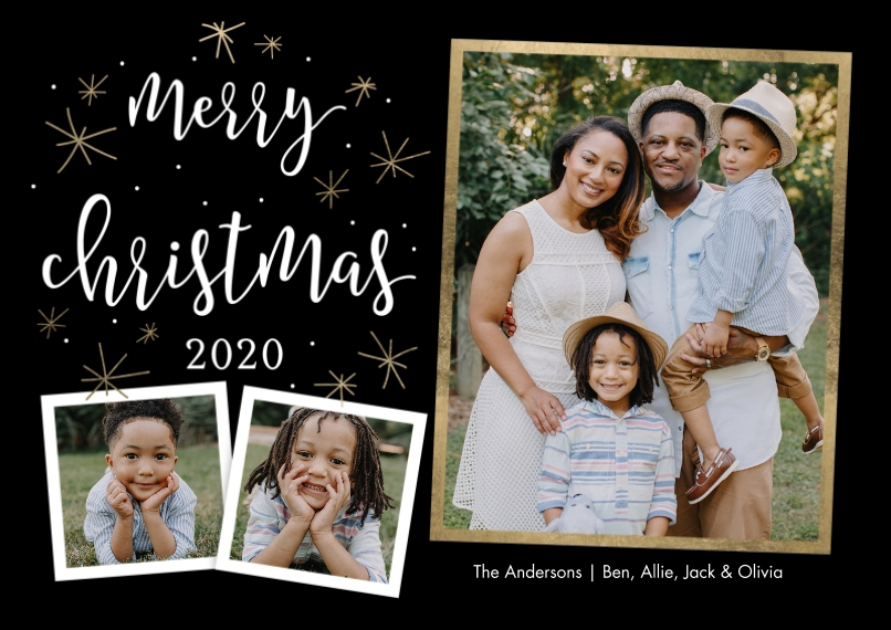 Christmas Photo Cards 5x7 Cards, Premium Cardstock 120lb with Elegant Corners, Card & Stationery -2020 Christmas Gold Stars by Tumbalina