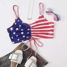 Cami Top mit amerikanischer Flagge Muster und Kordelzug vorn