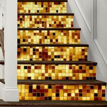 1 hoja pegatina escalera con patron de mosaico