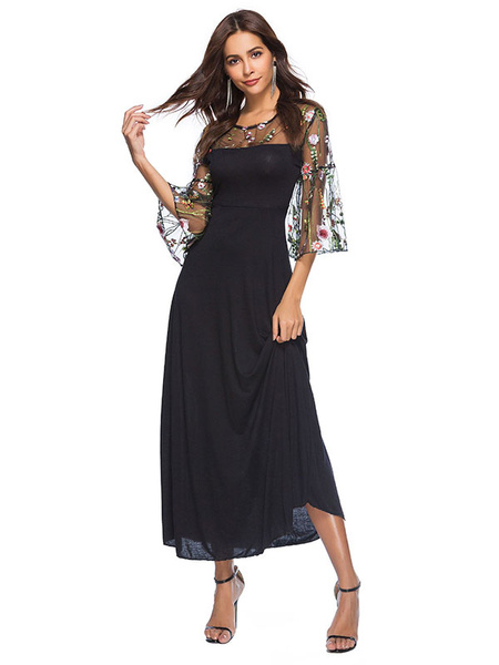 Milanoo Black Long Dress Flared Sleeve Round Neck Embroidered Summer Maxi Dress