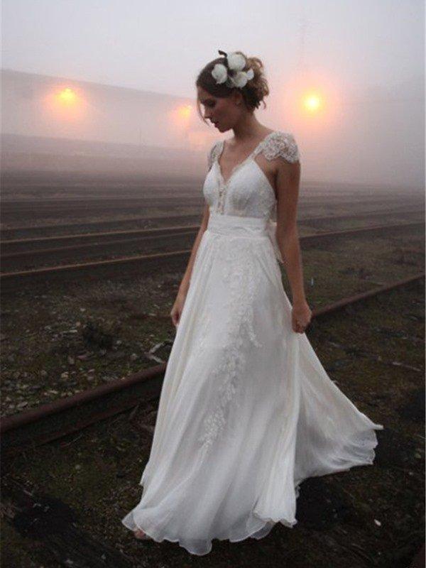 Mousseline A-ligne sans manches col en V -parole longueur robes de mariee en dentelle