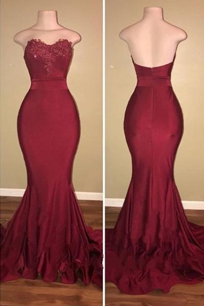 Classic Strapless Appliqued Sweep Train Mermaid Prom Dresses