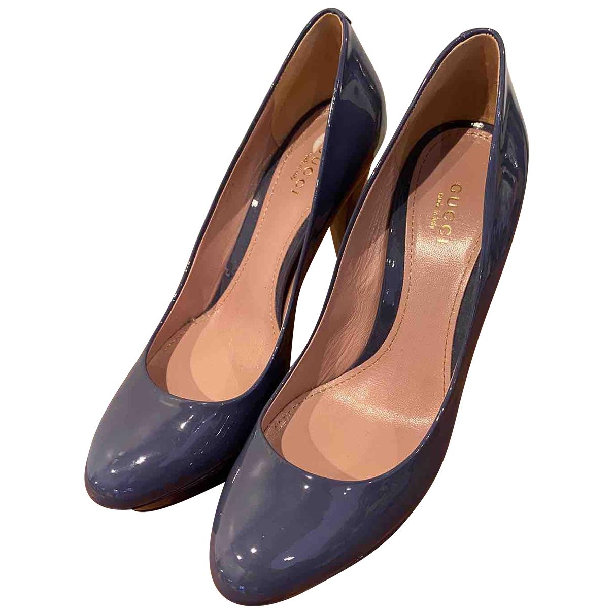 Gucci - Escarpins   pour femme en cuir verni - bleu