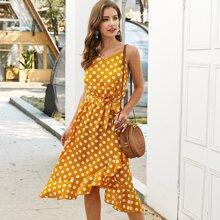 Cami Kleid mit Punkten Muster, Guertel und Raffungsaum