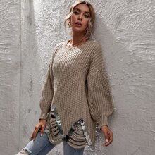 Pullover mit Pailletten, Riss und Bogenkante