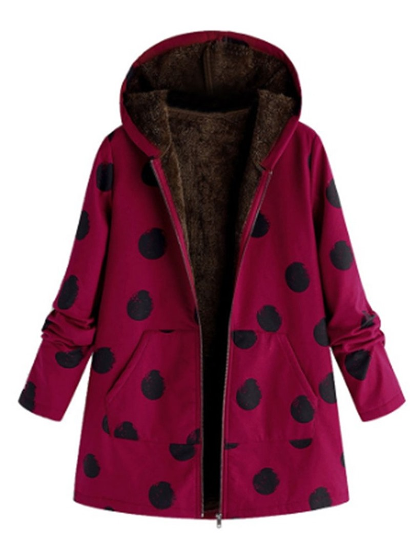 Ericdress Thick Print Zipper Mid-Length Cotton Padded Womens Jacket