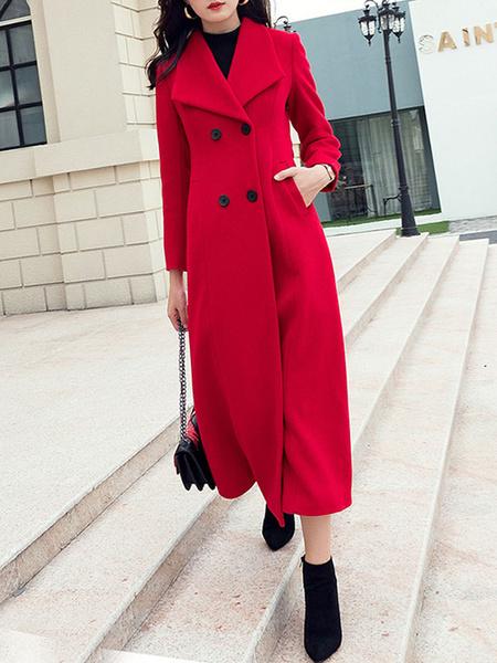Milanoo Coat For Woman Turndown Collar Buttons Retro Grey Wrap Coat