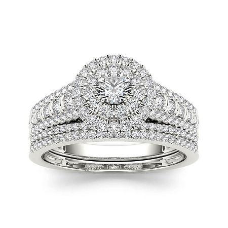 1 CT. T.W. Diamond 10K White Gold Bridal Set, 8 , No Color Family
