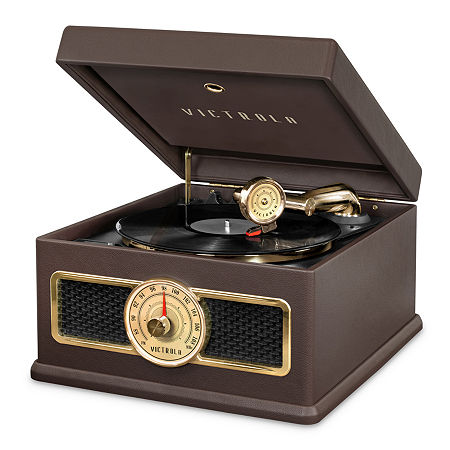 Victrola VTA-800B 5-in-1 Nostalgic Bluetooth Record Player with CD, Radio, Record Storage and 3-Speed Turntable., One Size , Brown