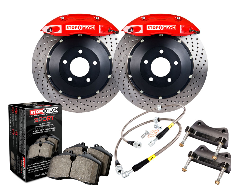 StopTech 83.841.4700.72 Big Brake Kit; Black Caliper; Slotted Two-Piece Rotor; Rear Subaru Front