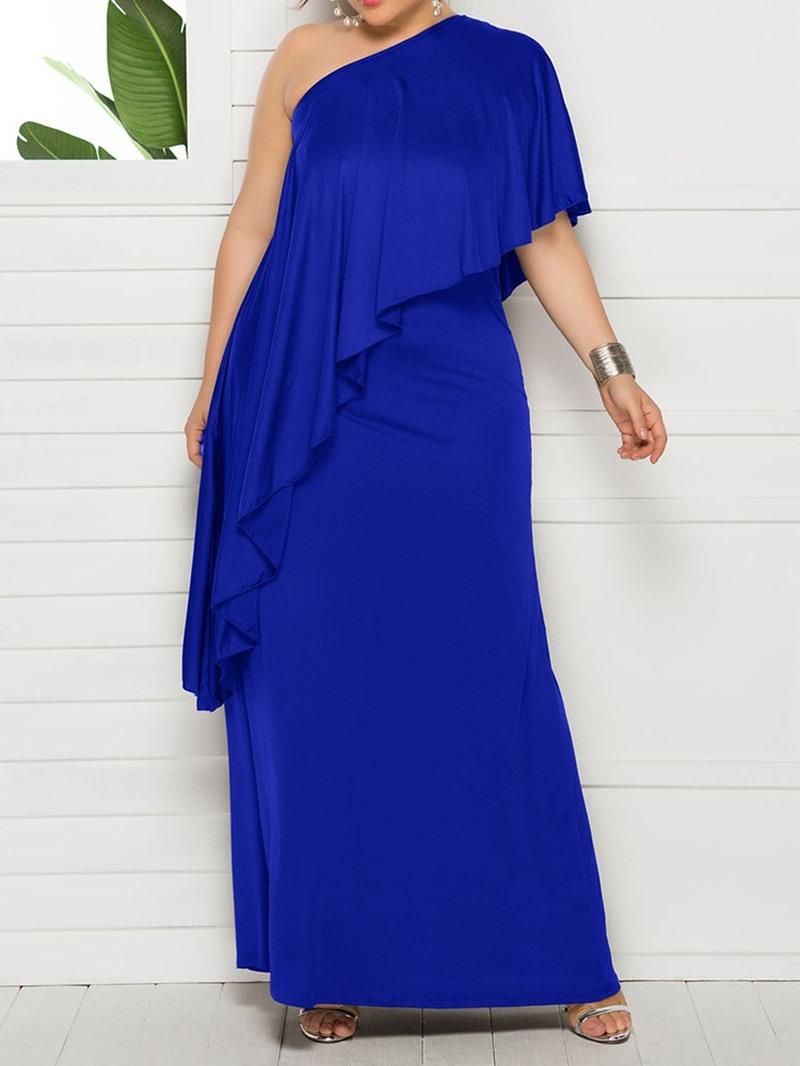 Ericdress Plus Size Oblique Collar Asymmetric Pullover Batwing Sleeve Dress