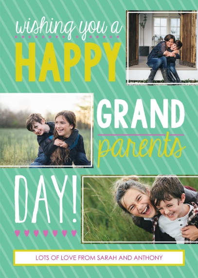 Grandparents 5x7 Folded Cards, Standard Cardstock 85lb, Card & Stationery -Fun Stripes