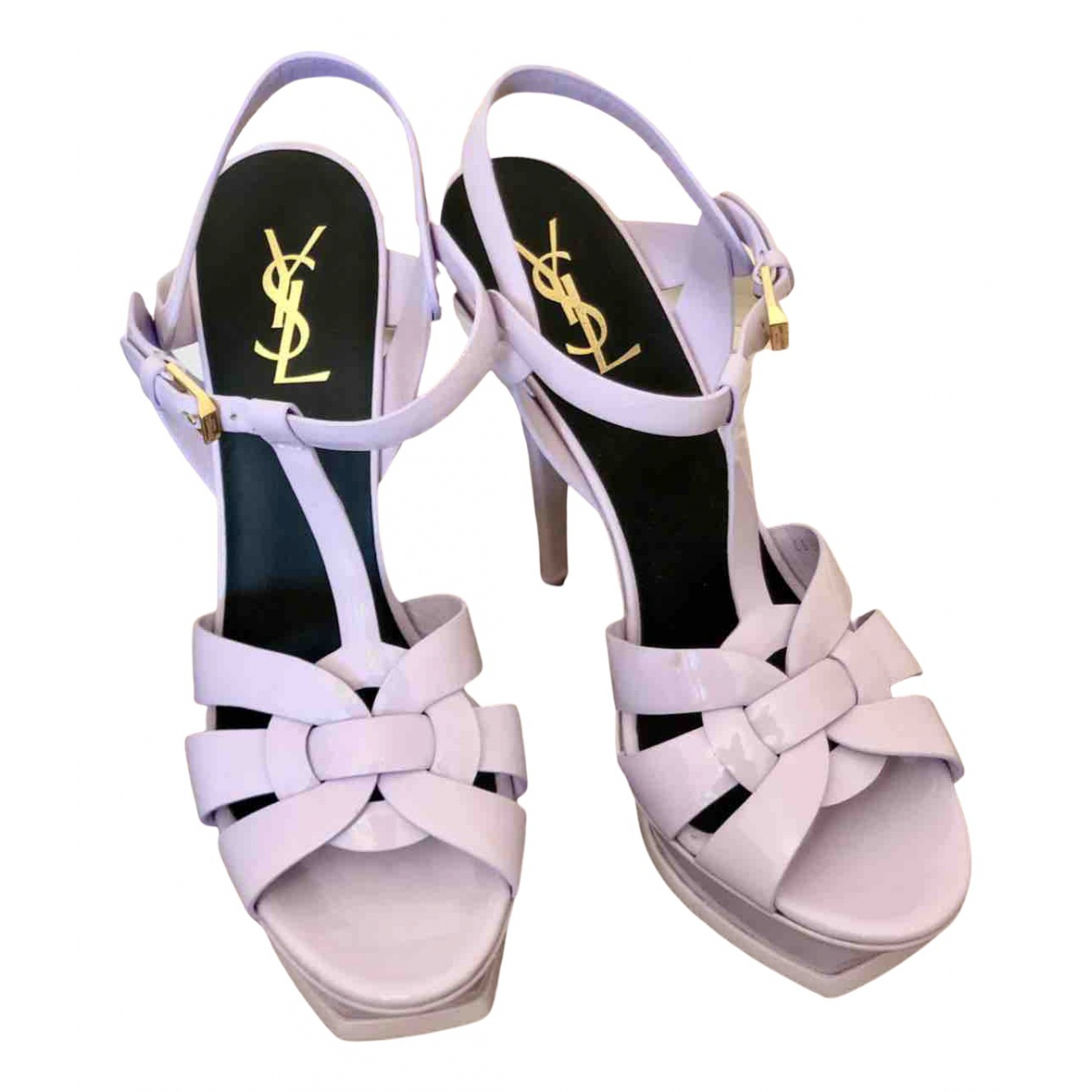 Saint Laurent Tribute Sandalen in  Lila Lackleder