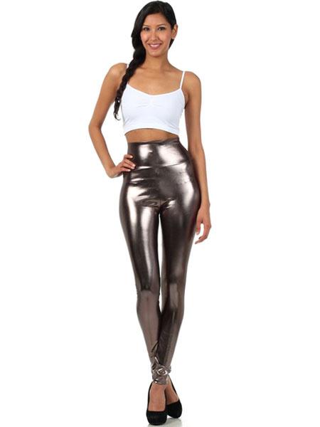 Milanoo Disfraz Halloween Leggings gris brillante metalizado pitillo para las mujeres Halloween