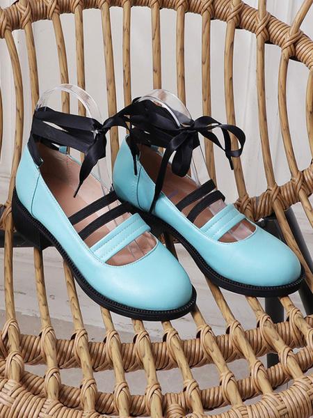 Milanoo Sweet Lolita Ballet Shoes Black Round Toe PU Leather Lolita Pumps