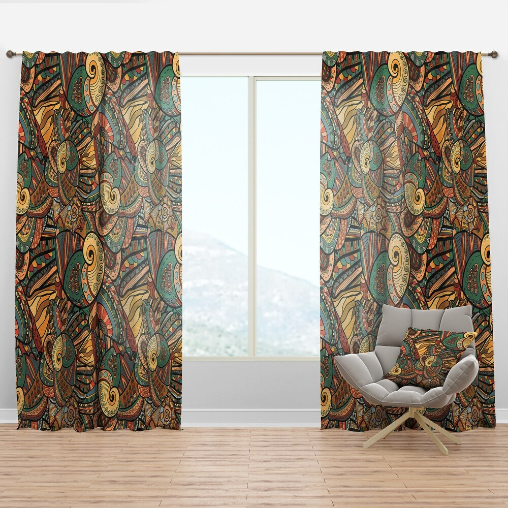 Designart 'Abstract Pattern with Marine Inhabitants' Bohemian & Eclectic Curtain Panel (50 in. wide x 90 in. high - 1 Panel)